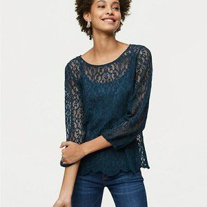 Loft Scalloped Lace Top Teal Sheer 3/4 Sleeve sz L